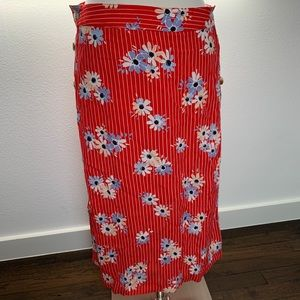 NWT Madewell Red Side-Button Skirt, Size 2